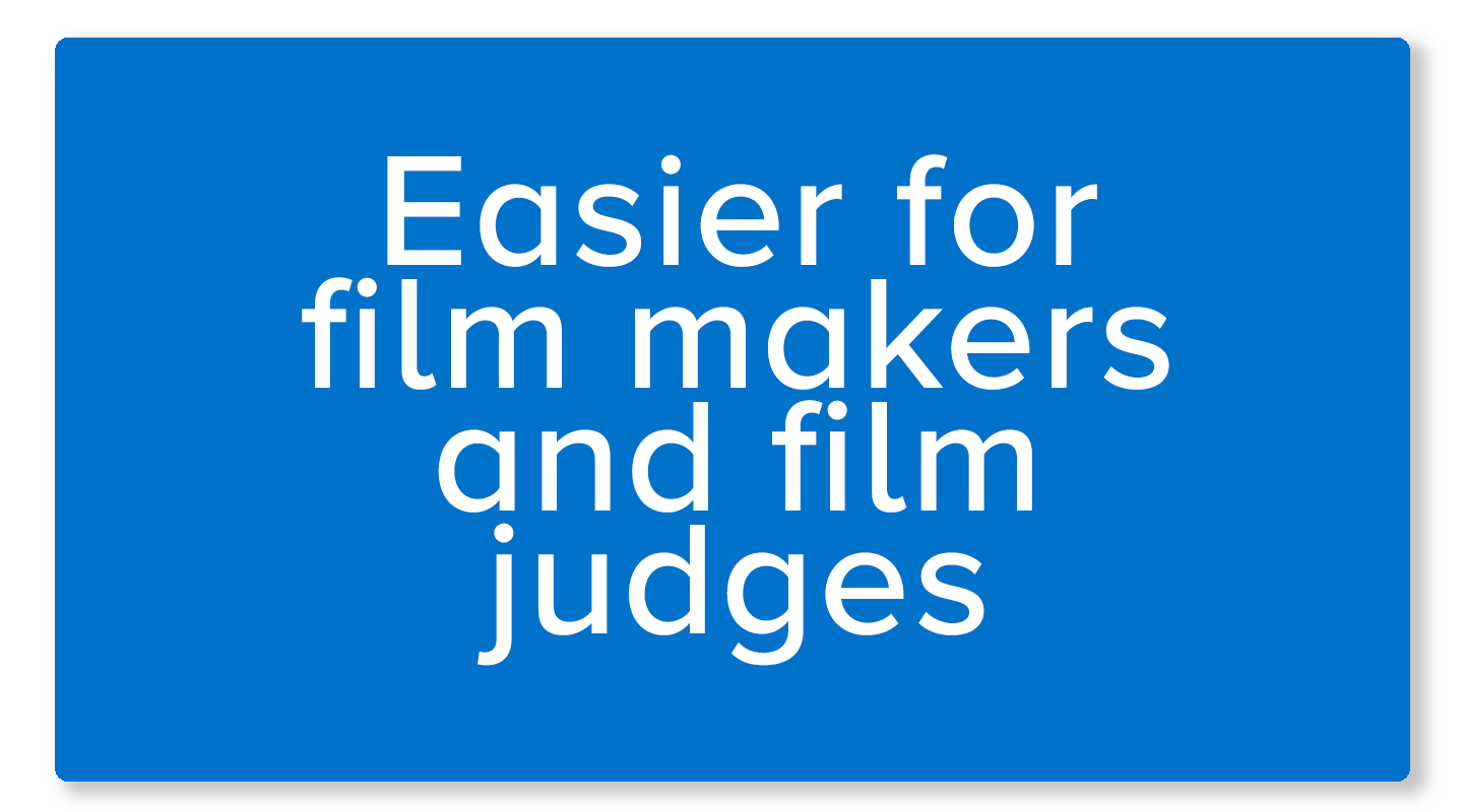 Easier for film makers and judges